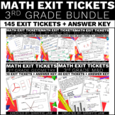 3rd Grade Math Exit Tickets Bundle Common Core Aligned No Prep