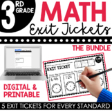 3rd Grade Math Exit Tickets | Math Assessments Bundle