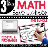 3rd Grade Math Exit Tickets   Math Assessments Bundle