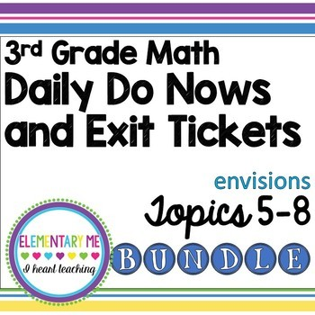 3rd Grade Math Exit Tickets and Do Nows Bundle Topics 5-8