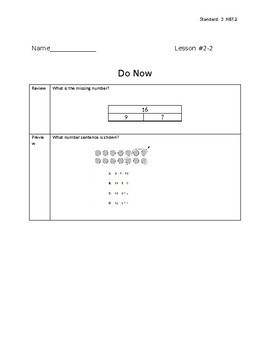 3rd Grade Math - Exit Tickets and Do Nows - Topic 2 Addition and Subtraction