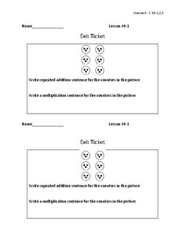 3rd Grade Math - Exit Tickets and Do Nows - Topic 4 Meaning of Multiplication