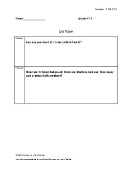 3rd Grade Math - Exit Tickets and Do Nows - Topic 7 Division