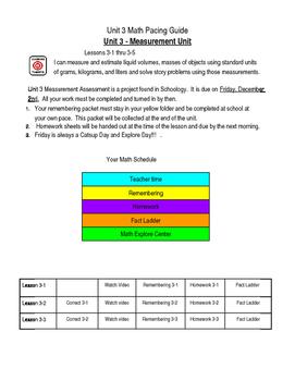 3rd Grade Math Expression - Unit 3 - Measurement