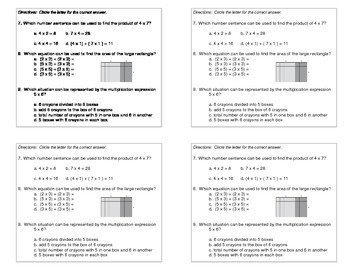 3rd Grade Math Expressions Common Core:Unit 1 Mult. & Division  (4 per pg)