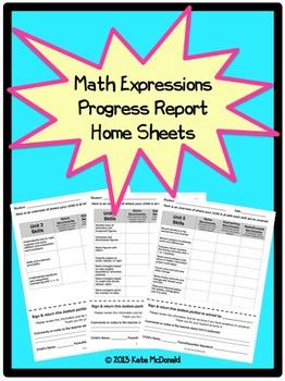 3rd Grade Math Expressions Unit Progress Report Home Sheets