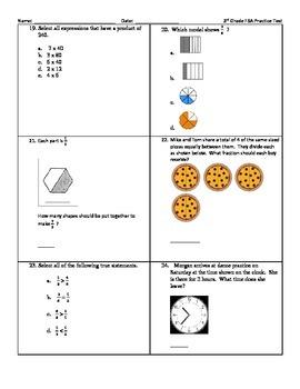 3rd Grade Math FSA Practice Test by Fabulous Math Finds | TpT
