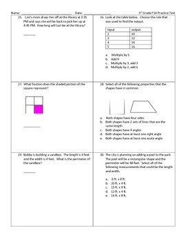 3rd Grade Math FSA Practice Test by Fabulous Math Finds | TpT