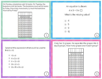 3rd Grade Math FSA Sample Items (Test Spec Items) Task Cards (Format 1)