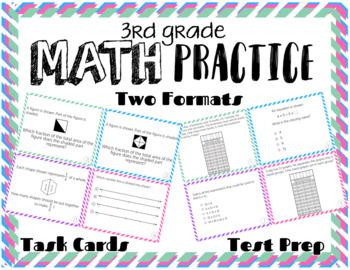 3rd Grade Math FSA Test Prep (Test Spec Items) Task Cards (Formats 1 & 2)