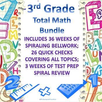 3rd Grade Math Full Bundle with Bellwork, Homework, Quick Checks, Spiral Reviews