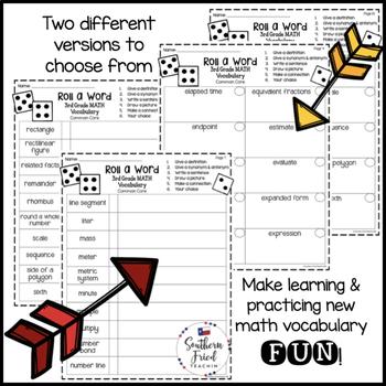 3rd Grade Math Fun Interactive Vocabulary Dice Activity - EDITABLE
