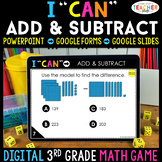 3rd Grade Math Game DIGITAL   Add & Subtract within 1,000