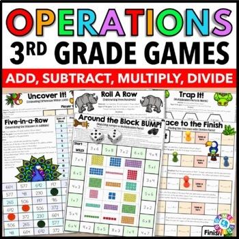 3rd Grade Math Centers: 3rd Grade Operations {3.NBT.2, 3.NBT.3, 3.OA.1, 3.OA.2}