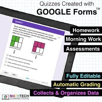 3rd Grade Math Google FORMS | Assessments Google Classroom Distance Learning