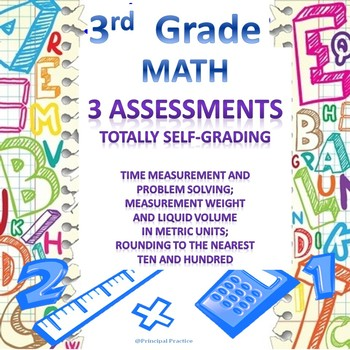 3rd Grade Math Google Form Assessments Time, Measurement, Rounding