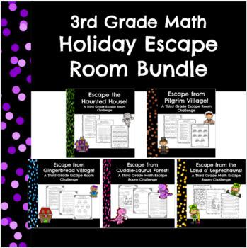 3rd Grade Math Holiday Escape Room Bundle