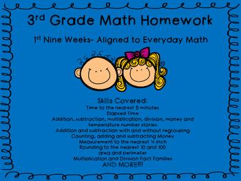 3rd Grade Math Homework- 1st Quarter
