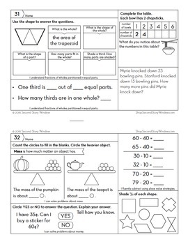 3rd Grade Math Homework by Second Story Window | TpT
