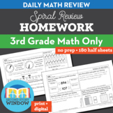 3rd Grade Math Homework Spiral Review Distance Learning Packet