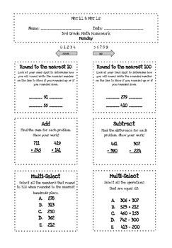 3rd Grade Math Homework BUNDLE NBT.1.1 & NBT.1.2