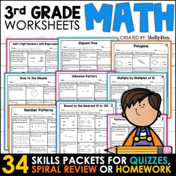 3rd Grade Math Homework Bundle for the Year Distance Learning