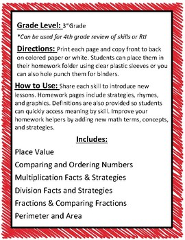 3rd Grade Math Homework Helpers Bundle