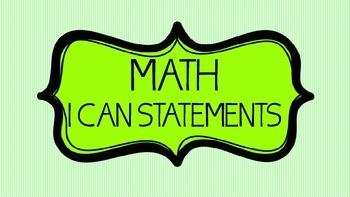 "3rd Grade Math ""I Can Statements"""