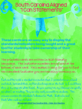 """3rd Grade Math """"I Can Statements"""" 2016 SC Standards Aligned"""