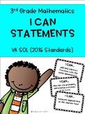 """3rd Grade Math """"I Can"""" Statements - 2016 VA SOL Aligned"""