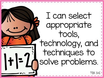 "Math TEKS ""I Can"" Statements 3rd Grade"