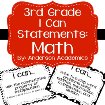 "3rd Grade ""I Can"" Statements: Math - Black & White"