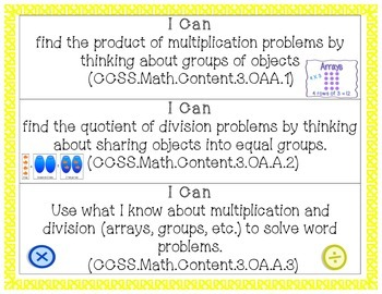 """3rd Grade Math """"I Can"""" Statements - Common Core"""