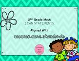 3rd Grade Math I Can Statements FREEBIE! Chevron & Spring Doodles