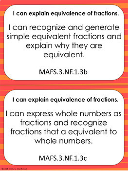 Florida Math (MAFS) Standards: I Can Statements for 3rd Grade