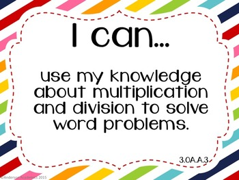 "3rd Grade ""I Can"" Statements: Math - Rainbow"