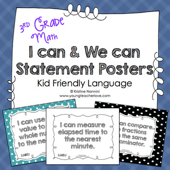 I Can Statements 3rd Grade Math Posters | I Can & We Can - Kid Language