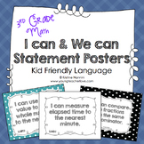 I Can Statements 3rd Grade Math Posters | I Can & We Can -
