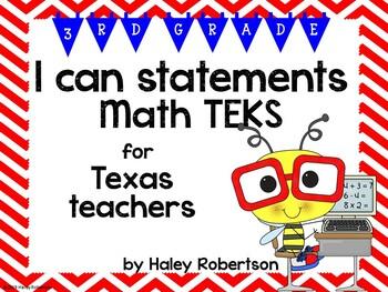 "3rd Grade Math ""I can"" statements- Chevron pattern (using TEKS)"