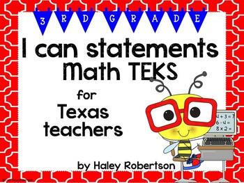 "3rd Grade Math ""I can"" statements- Tile pattern (using TEKS)"