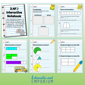 3rd Grade Math Interactive Notebook: Fractions Domain: NF
