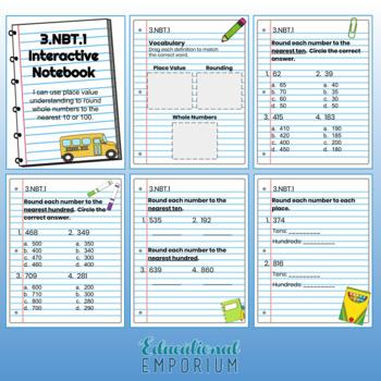 3rd Grade Math Interactive Notebook: Number & Operations in Base Ten Domain: NBT