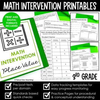 Math Intervention 3rd Grade Binder A YEARLONG RTI PROGRAM BUNDLE