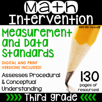3rd Grade Math Intervention Pack MEASUREMENT AND DATA NO PREP Guided Math