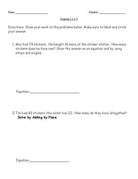 3rd Grade Math Investigations- Investigation 1 Common Assessment 1.1-1.3