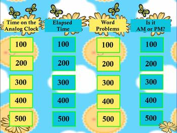 3rd Grade Math Jeopardy ~ CCSS 3.MD Promethean Flipchart Game Time/ Elapsed Time