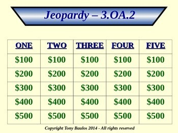 3rd Grade Math Jeopardy Game - 3 OA.2 Division Word Problems 3.OA.2