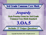 3rd Grade Math Jeopardy Game - 3 OA.5 Apply Properties of Operations 3.OA.5