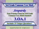 3rd Grade Math Jeopardy Game - Products Of Whole Numbers Word Problems 3.OA.1