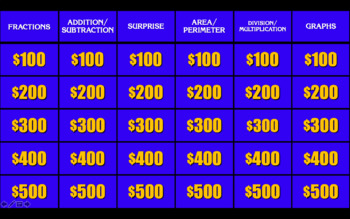 3rd Grade Math Jeopardy Review